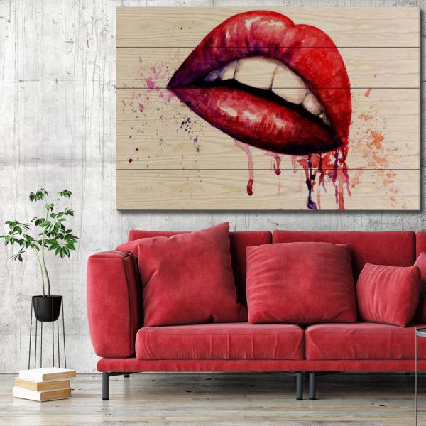 Πίνακες σε Ξύλινες Τάβλες - Lips