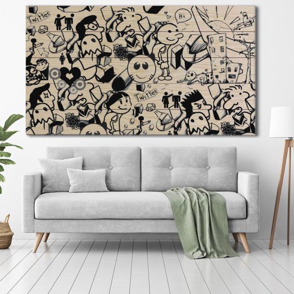 Πίνακες σε Ξύλινες Τάβλες - Black & White Street-Art